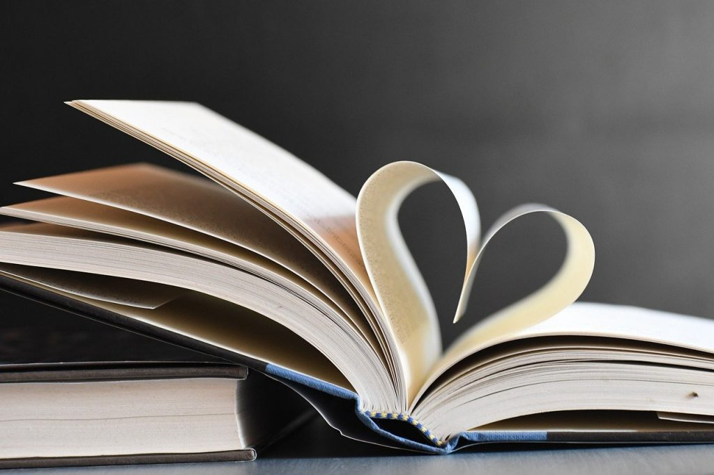 books, heart, pages